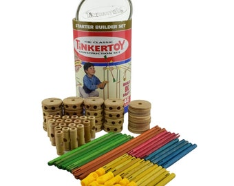 Vintage (1980s) Classic Tinkertoy 33124 Wooden Construction Set. Made in USA. Complete.
