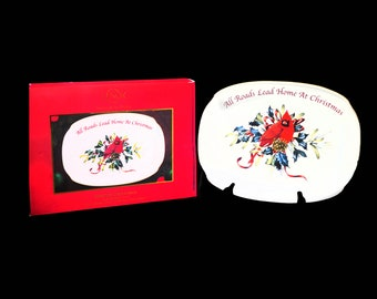 Vintage Lenox Winter Greetings oval sandwich platter with original box. Cardinal bird, All Roads Lead Home at Christmas. Christmas tableware