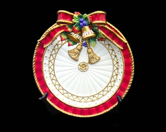 Vintage Fitz & Floyd Christmas Deer majolica canape or decorative plate. Christmas bells, holly, ribbons.