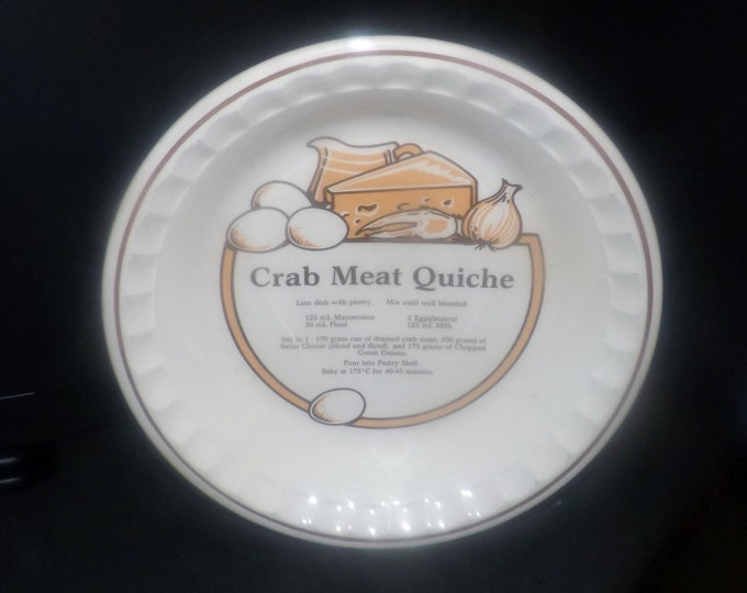 Vintage (1980s) C.E. Springer stoneware Crab Meat Quiche recipe plate. Central recipe for making Crab Meat Quiche, crimped edge.