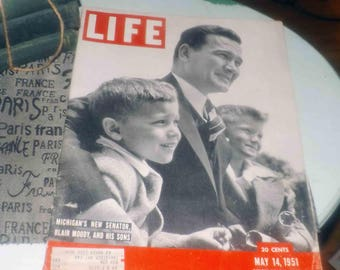 Mid-century (May 14, 1951) Life Magazine. Black-and-white cover image of new Michigan Senator Blair Moody and sons. Great vintage ads