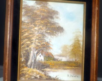 Attributed to mid-century (1950s) original oil on canvas, wood framed landscape trees, cabin, stream.  Signed B. Peter.