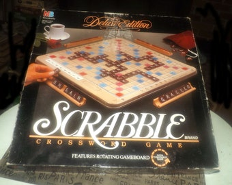 Vintage (1989) Scrabble Deluxe Edition board game by Milton Bradley. Rotating board, wooden racks, instructions.  Incomplete (see below).
