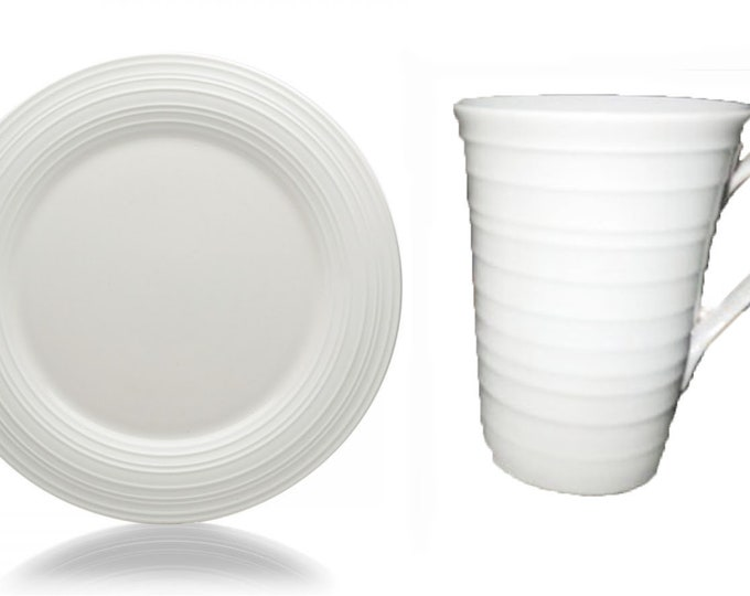 Mikasa Swirl White large stoneware dinner plate and 1 large mug.  All-white stoneware, embossed rings. Discontinued 2006.