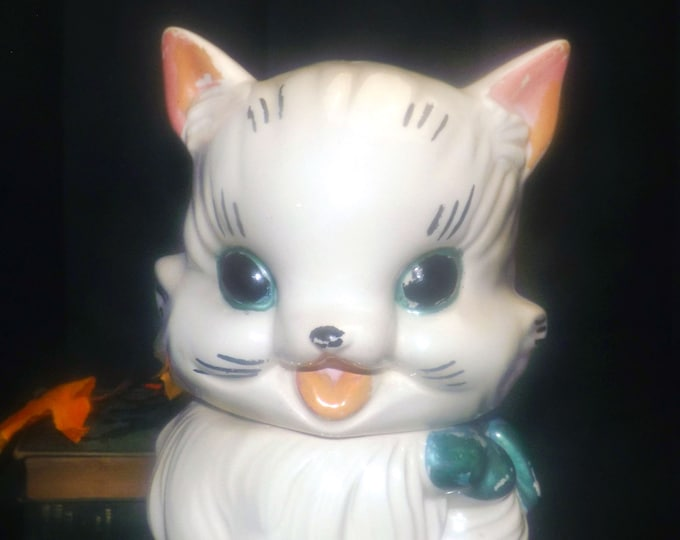Vintage (early 1960s) ABCO | Alexander Backer Co Fluffy cat with bow cookie jar. Hand painted and made in the USA.