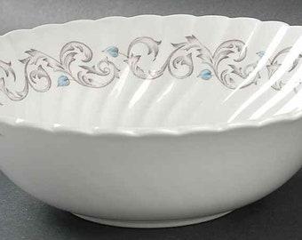 Vintage (1960s - 1970s) Johnson Brothers Encore pattern vegetable serving bowl.  Blue leaves, brown scrolls. Snowhite Regency ironstone.