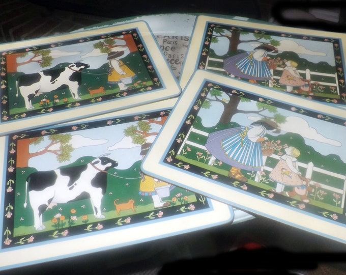 Set of four vintage Pimpernel cork-backed placemats. Children and pets. Made in England.