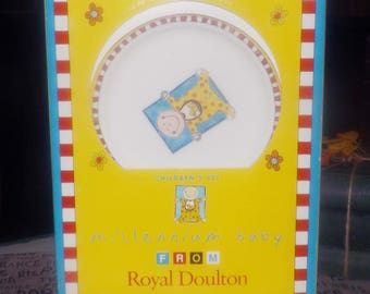 Vintage (1998) Royal Doulton Millennium Baby 3-piece children's dinnerware set. New and unused in original box with labels.