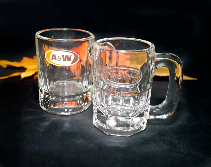 Pair of vintage (1980s) A&W Root Beer mini | baby | 4-ounce mugs. Etched-glass and embossed branding.