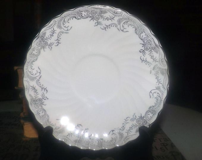 Early mid-century (1940s) Washington Pottery | Swinnertons Silverlea orphan saucer (no cup). Silver floral filigree.