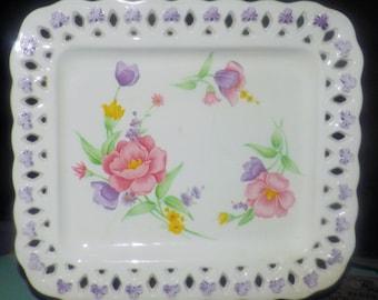 Vintage (1970s) Tominaga Japan Mariner square platter. Pink, purple florals. Embossed floral accents, lace-like rim.