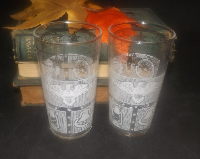Mid-century Dominion Glass Americana | Indian Chief | American Eagle tumbler glasses. Etched-glass artwork. Pair of glasses.