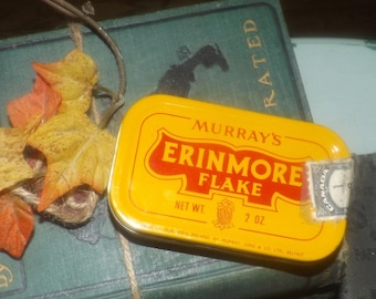 Vintage (1960s) Murray's Erinmore Flakes tobacco tin. Made in Belfast, Northern Ireland. Canada duty | tariff labels affixed.