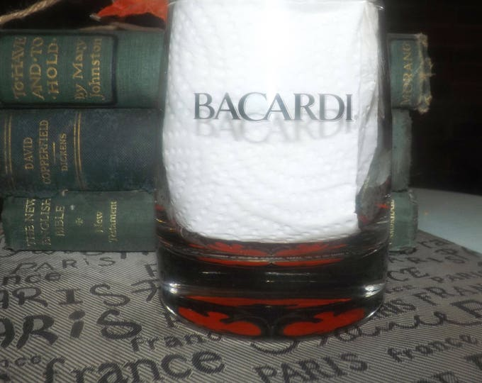 Vintage (1980s) Bacardi Rum Bacardi Bat logo weighted lo-ball, whisky glass.  Etched-glass artwork and type. Commercial quality.