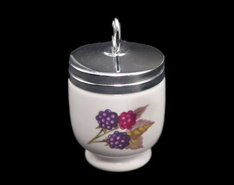 Vintage (1970s) Royal Worcester Evesham single egg coddler with screw-on metal lid made in England. Peaches and berries.