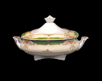 Antique Aesthetic Movement (1890s) Wedgwood Avon with green insets covered serving bowl made in England. Flaws (see below).