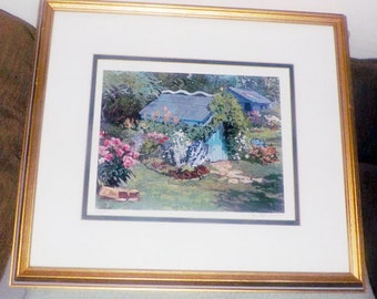 Vintage (1979) limited-edition | 500 of 500 framed print under glass by Canadian artist Peter Etril Snyder. Tool Shed in a Country Garden.