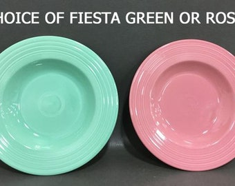 Homer Laughlin Fiesta Ware very large rimmed individual pasta bowl. Choice of Fiesta Rose or Fiesta Green.  Made in USA.