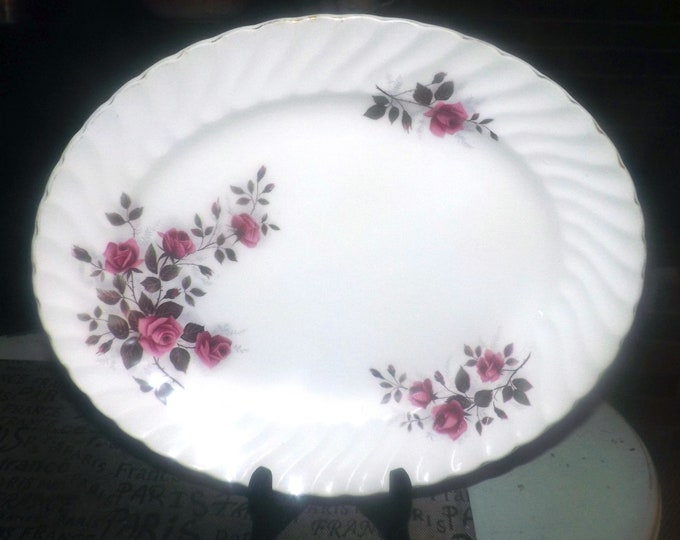 Mid-century (1950s) Ridgway Fragrance pattern oval vegetable or meat serving platter.  Pink, red rose blooms, gold, fluted, scalloped edge.