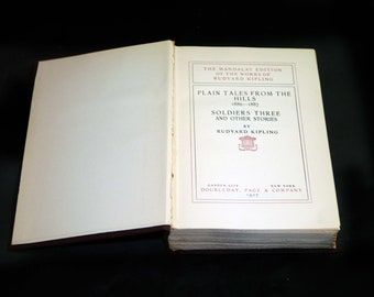Almost antique (1927) book Rudyard Kipling Plain Tales from the Hills, Soldiers Three, other stories. Mandalay Edition Vol I. Complete.