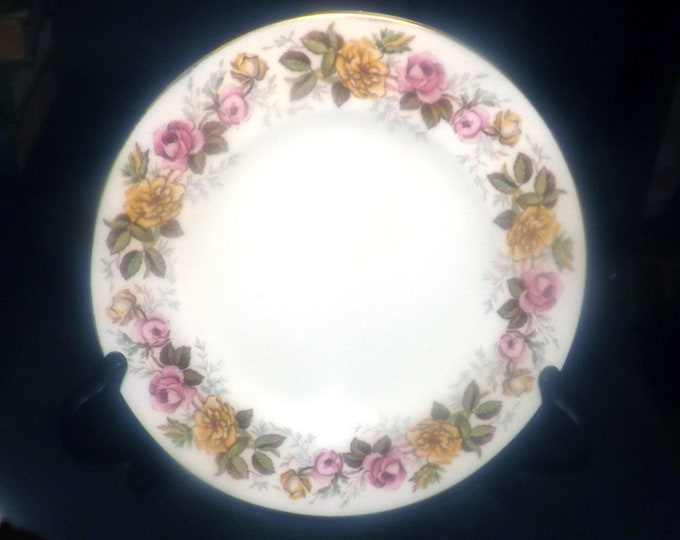 Vintage (1930s) Coalport Rosalinda salad, side, dessert plate made in England. Pink and yellow roses, gold edge.