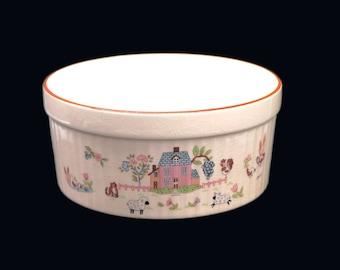 Vintage (1980s) Jamestown China Country Home stoneware souffle dish | casserole made in Japan. Folk art motif.