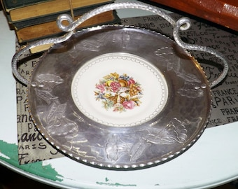 Early mid-century (1940s) American Limoges Imperial Victorian handled plate.  Faberware embossed aluminium surround and handle.