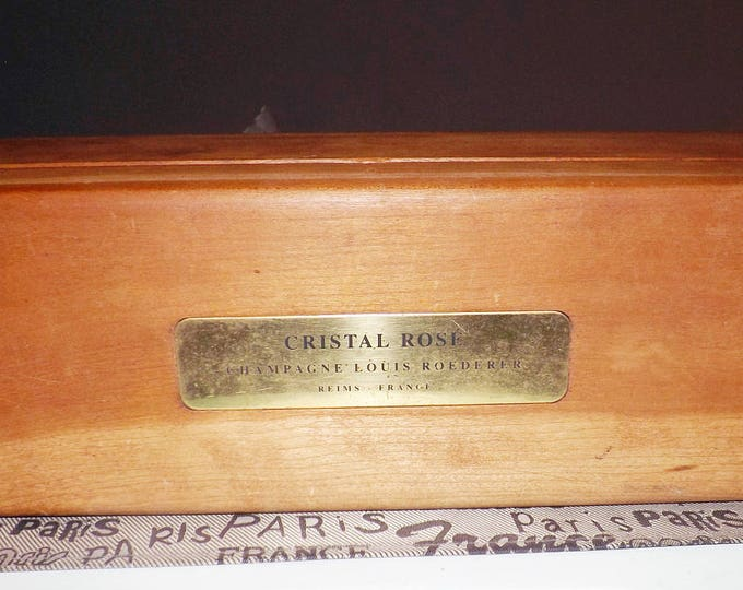 Vintage (1995) Louis Roederer Reims France Cristal Rose hinged, wooden champagne box.  Walnut.