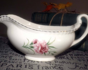Early mid-century (1940s) Johnson Brothers JB453 pink carnations gravy | sauce boat. Old English Ironstone.