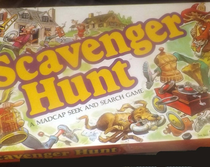 Vintage (1983) Scavenger Hunt board game published by Milton Bradley.  Game made in USA.  Incomplete (see below).