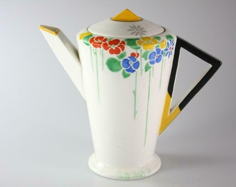 Shelley art-deco (1930) 11757 teapot with lid made in England. Eve shape. Flawed (see below).