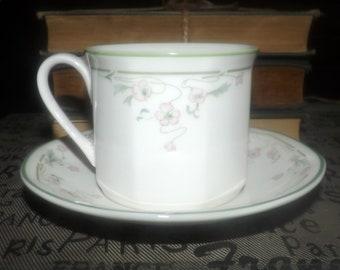 Vintage (1988) Royal Doulton Caprice tea set (flat cup with saucer). Pink flowers, green rim, octagonal shape. Springtime pattern.