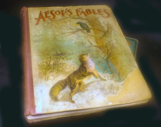 Antique (1860s) Aesops Fables first-edition hardcover illustrated children's book. Lothrop Publishing Boston.