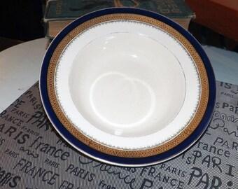 Quite vintage (1930s) Myott Staffordshire Formelite | BU619 rimmed soup bowl. Cobalt, encrusted gold band.