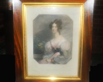 Antique (1841) Victorian-era framed hand-colored portrait engraving of Lady Bulteel by Henry Bryan Hall after Frederick Richard Say.