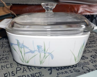 Vintage (1980s) Corelle | Corning USA Shadow Iris covered casserole (glass lid). Purple flowers and greenery. Made in USA.