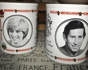Pair of vintage (1981) commemorative Charles and Diana | Royal Wedding stoneware mugs. Made in England by Kiln Craft.  Etched portraits.