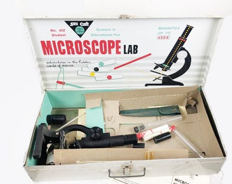 Mid century (1959) Skil Craft #412 Microscope Lab in a box.  450X magnification with original instructions.