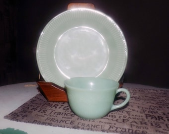 Mid-century (late 1940s - early 1950s) Fire King Jane Ray Jade Ite | Jadeite glass cup and salad plate.  Oven Ware line. Ribbed details.