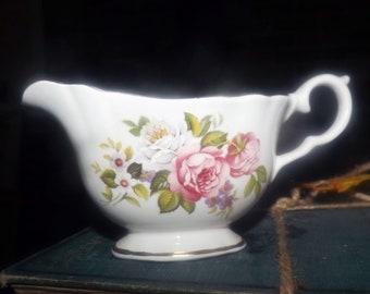 Mid-century (1950s) James Kent   Old Foley Harmony Rose novelty   mini creamer, open sugar bowl or under-tray.  Roses, gold edge.