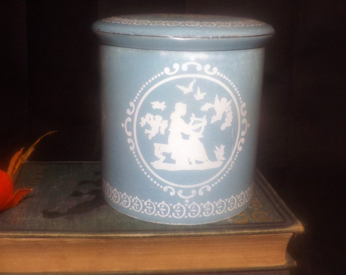 Mid-century (1950s) Riley's Toffee | confectionery tin made in England.  Blue-and-white Greco-Roman | Peloponnesian motif.