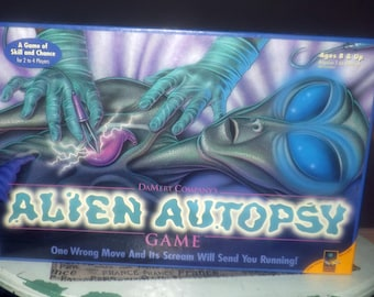 Vintage (1996) Alien Autopsy board game published by boutique gamehouse DaMert. Complete.