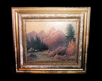 Mid-century Robert William Wood lithograph on board of a fall woodland, mountains and stream in carved gilt wood frame.
