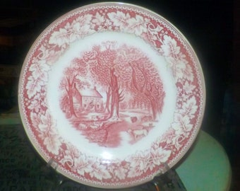 Early mid-century (1940s) Homer Laughlin USA Currier & Ives Red Home Sweet Home dinner plate. Red transferware. Flawed (see below).