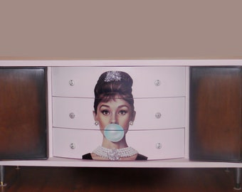 Mid-century modern Audrey Hepburn large nine-drawer wood dresser with doors and custom Audrey Hepburn knobs.