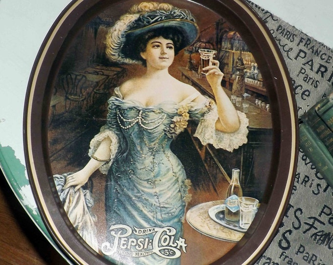 Vintage (1970s) Pepsi | Pepsi Cola Gibson Girl metal oval serving tray based on a 1909 advertisement