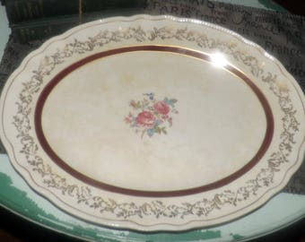 Early mid-century (1940s) Sovereign Potters Montcalm large oval turkey   meat platter. Maroon and 22K gold bands, center florals, filigree