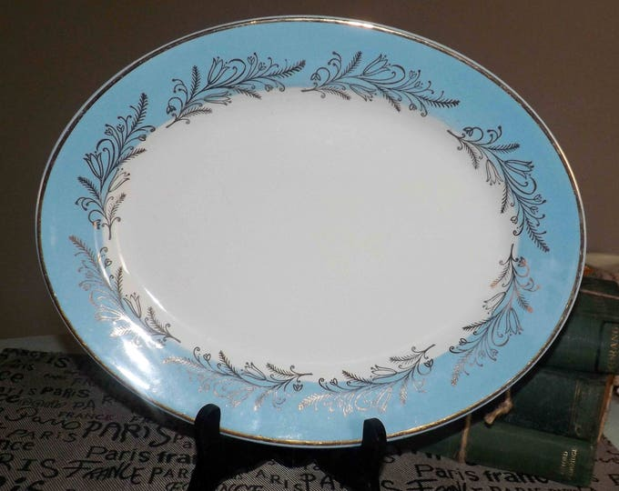 Mid-century (1950s) Washington Pottery classic Blue Riband oval vegetable platter. England.