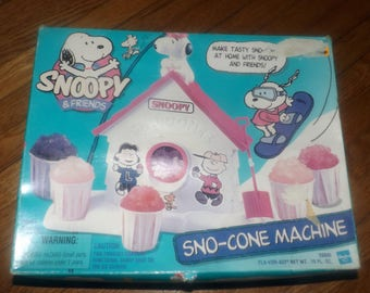 Vintage (1989) Snoopy & Friends Sno-Cone Machine by Hasbro. Sealed, unused parts. Original instructions. Open box.