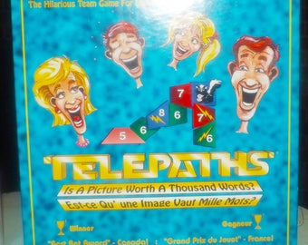 Vintage (1995) Canadian-only issue Telepaths board game published by boutique Canadian gamehouse Brainstorm Games. Complete.